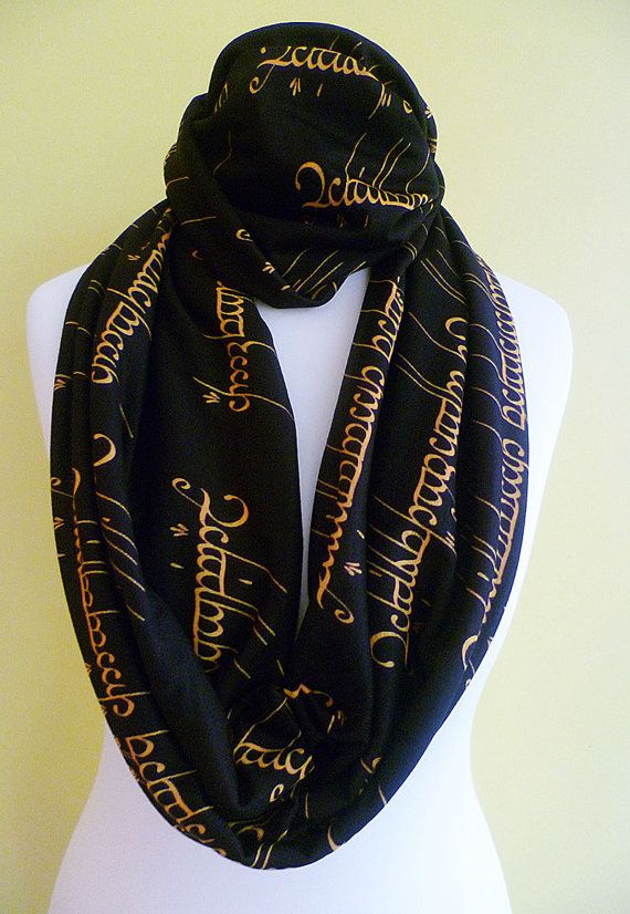 GORGEOUS LOTRs/ HOBBIT The one ring script Infinity scarves. Exclusive Rooby lane Fabric ( as always!) This one is a super cool HOBBIT Scarf. The