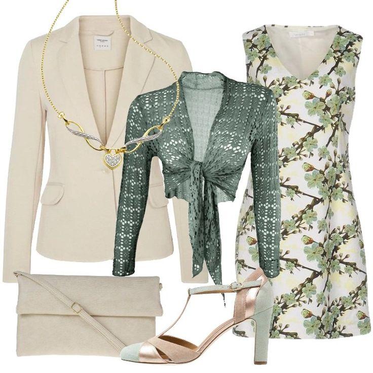 Un outfit primaverile elegante, ma molto semplice, per chi ama linee sobrie e colori pacati: blazer oatmeal, collo a bavero, tasche con patta, chiuso da bottone, vestibilità normale, abbinato a vestito bianco, in fantasia floreale, collo a v, senza maniche, bolero cachi, traforato, da annodare, eventualmente da usare in assenza della giacca. Mary Jane mint/gold, punta tonda, tacco a rocchetto, pochette beige pieghevole con tracolla, collier dorato, con ciondolo a cuore.