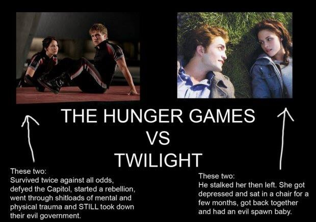 I don't like comparing the two but the summary for twilight is hilarious