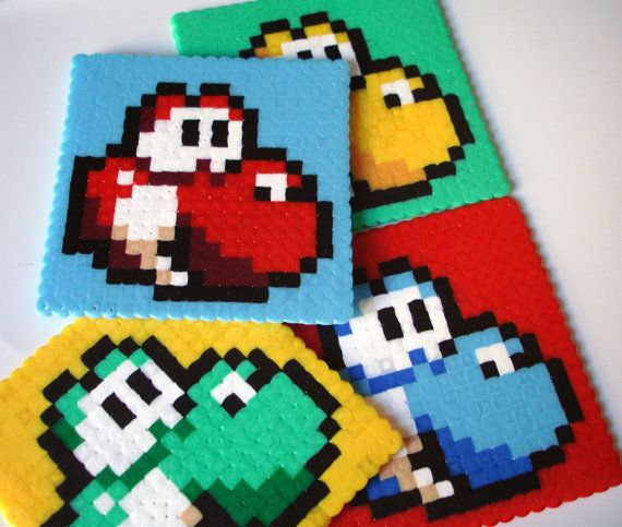 Yoshi Coaster Set 4 Pop Art Mario Coaster Set by BeadxBead on Etsy, €13.00