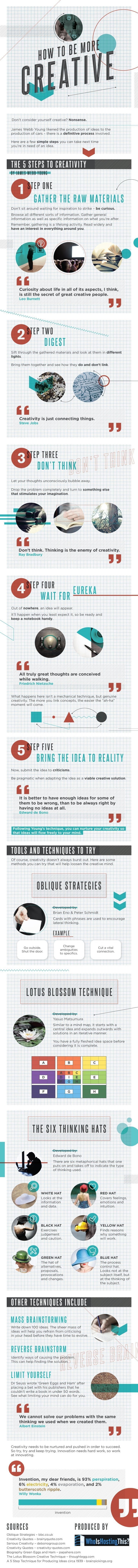 10 Techniques to Unleash Your Creativity......one of the best infographics I have ever seen on Creativity