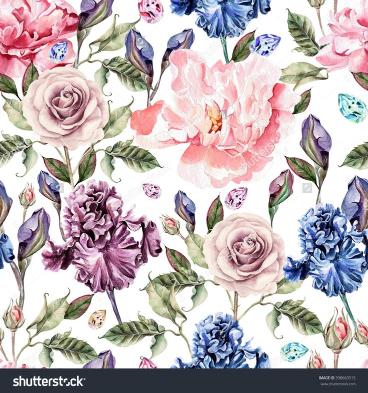 Pattern with watercolor realistic rose, peony and iris.  Illustration.