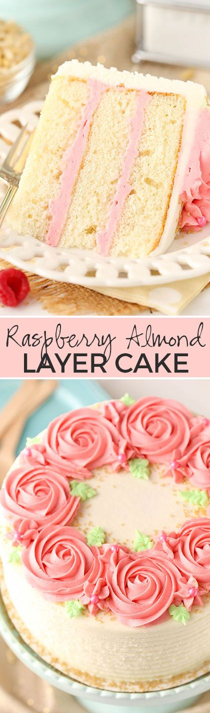 ***Raspberry Almond Layer Cake! ~ such a light, moist cake with fresh raspberry frosting!