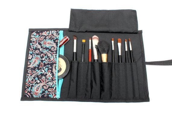 Pretty Paisley Patterned Brush Roll With Zippered Pocket.