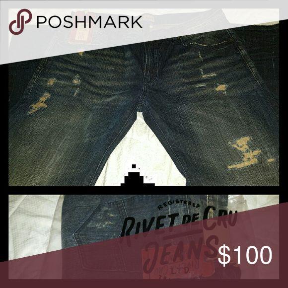 RIVET DE CRU * MENS JEANS 15% OFF NOW!!  DISTRESSED JEANS *BRAND NEW* SIZE 40 LENGTH 34 RIVET DE CRU Jeans