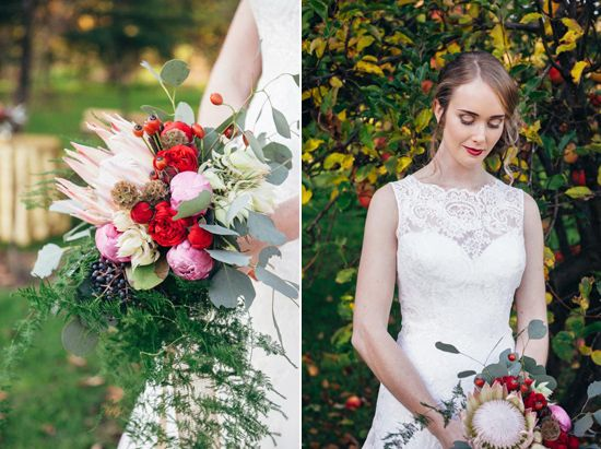 red lipstick / bride / perth wedding / australian native bridal bouquet / lace bridal gown / core cider house / winter wedding / rustic glamour styling  Rustic Winter Orchard Wedding Inspiration featured on Polka Dot Bride captured by Earthbound Images http://www.earthboundimages.com.au