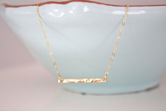 Gold Necklace Gold Bar Necklace Dainty Gold by AvaHopeDesigns