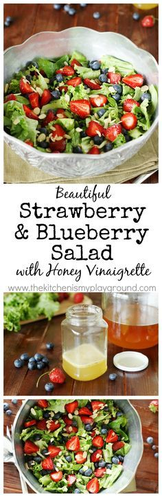 Sweet and tangy Strawberry, Blueberry & Greens Salad with Honey Vinaigrette, in beautiful red, white & blue! www.thekitchenismyplayground.com