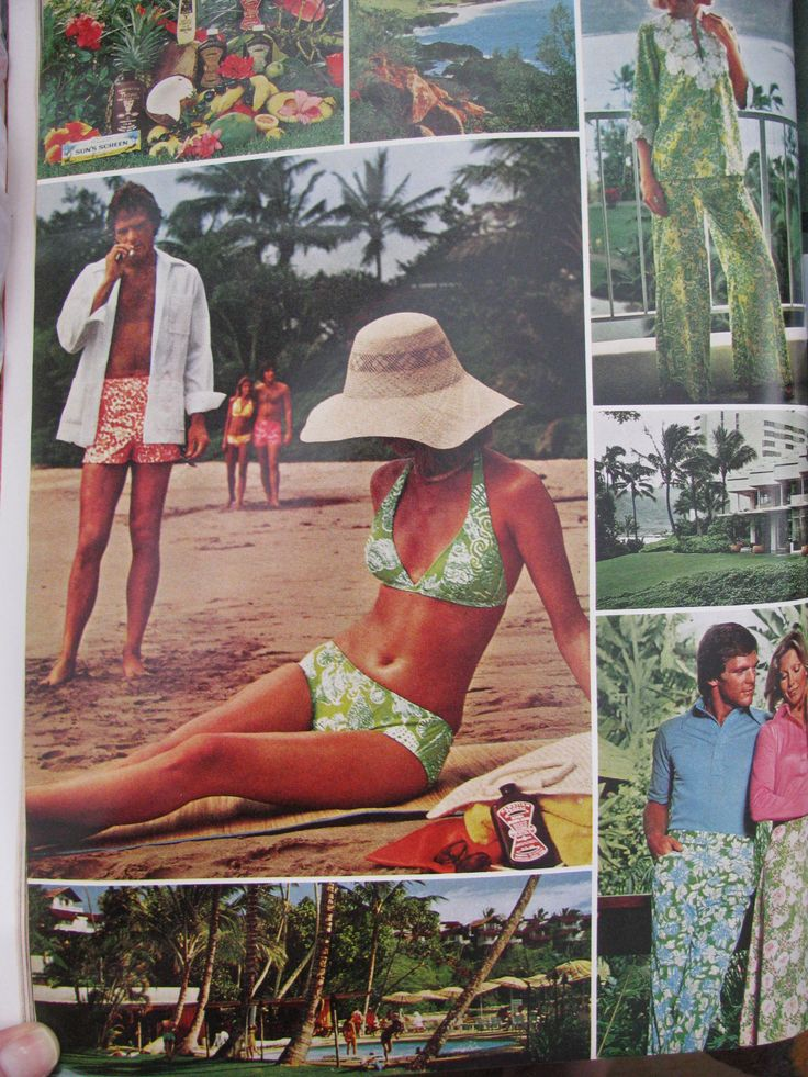 More from Lilly Follows the Sun with Hawaiian Tropic, Vogue, May 1976.  Dude in the vintage Lilly Pulitzer Men's Stuff swim trunks with cigarette makes us giggle! ;-)