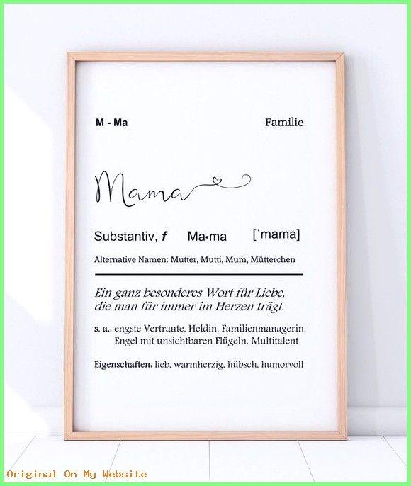 Geschenkideen Geburtstag Kunstdruck Mama Definition Mit Herz Diy