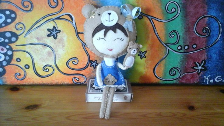 Lady Bear. Felt doll. With a little bear hand puppet. by craftoholicsoul on Etsy