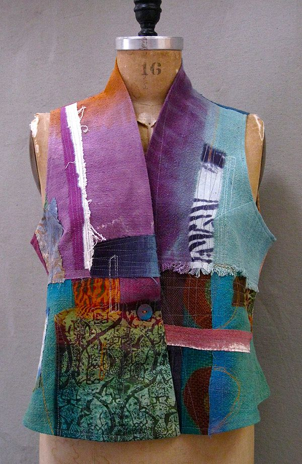 Dervish Mixed Silk Vest by Holly Badgely.  This looks like a shortened and vest version of our Wearable Art Pattern Challenge. McCalls M7201.