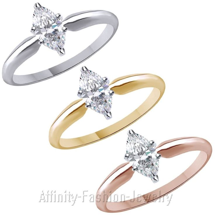 3/4 Ct Marquise-Cut D/ VVS1 14K Solid Gold Solitaire Engagement Ring #AffinityFashionJewelry #Solitaire