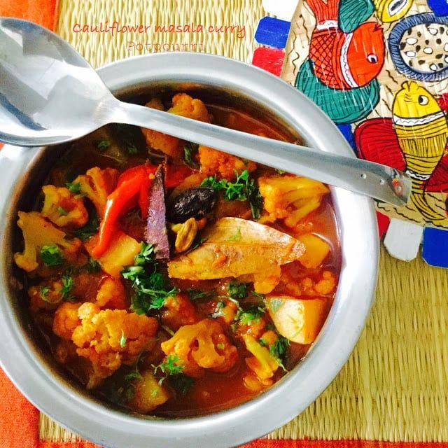 Cauliflower Masala Curry...A typical Odiya style fragrant masala curry with cauliflower and potatoes.