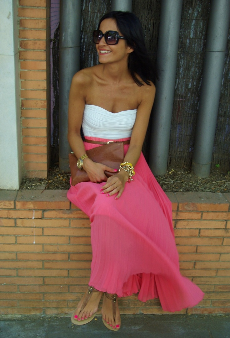 White strapless top, pink maxi skirt, belt, sandals, sunglasses, purse, and jewelry. best summer outfit!