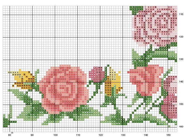 Schema punto croce Cornice-fiori-4