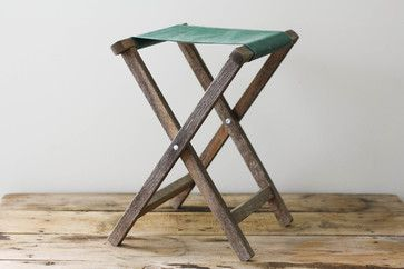 Vintage Folding Camp Stool by Pine and Main - $24.00 » Use camp furniture indoors or out. Classic camp folding furniture of an older vintage (think wood frame, not plastic) adds a rustic-chic note to interiors, and can be folded up and toted along when the mood strikes to hit the road.