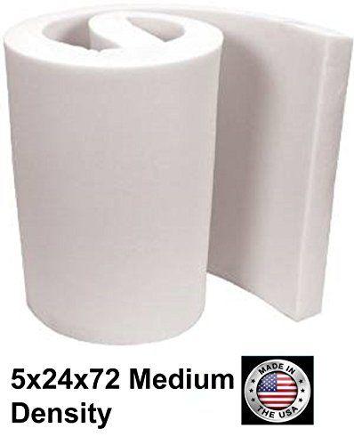 FoamTouch Upholstery Foam Medium Density Cushion, 5'' L x 24'' W x 72'' H