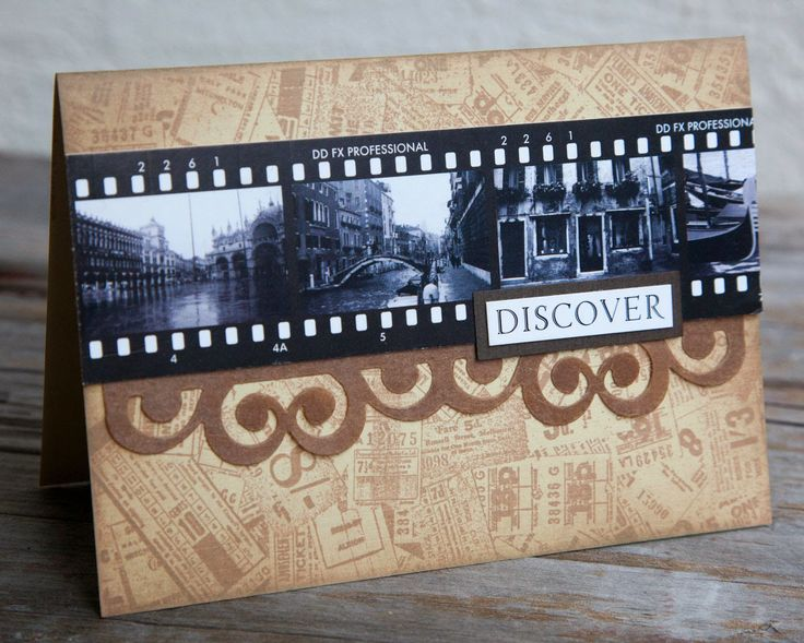 Card by Rachel Greig using Darkroom Door Venetian Filmstrips, Tickets Background Stamp and Sizzix Banner and Borders Die.