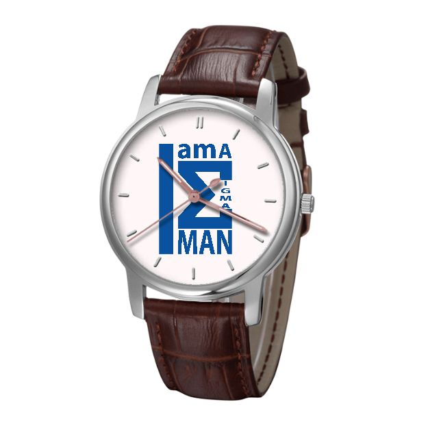 Iam Sigma 30 Meters Waterproof Quartz Bussiness Watch With Brown Genuine Leather