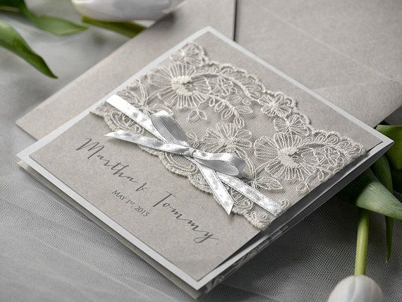Special Price Eco Lace Wedding Invitation, Pocket Fold Invitations , Vintage Wedding invitation, Rustic Wedding Invitation, on Etsy, $4.20