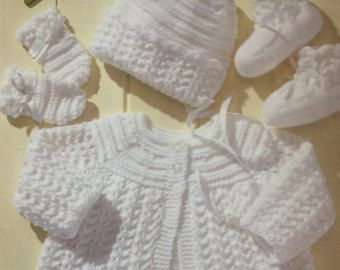 Vintage Knitting Pattern For Dk Baby Cardigans And Jumper