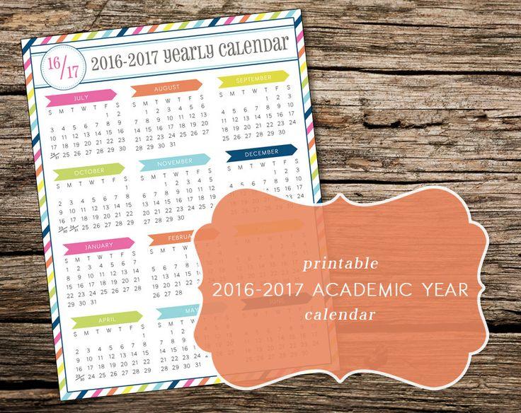 Printable 2016-2017 Academic Year-at-a-Glance Calendar