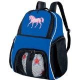 Cute Pink Horse Ball Backpack Blue Horse Lover Soccer Ball Bag Basketball Backpacks (Apparel)  #sport