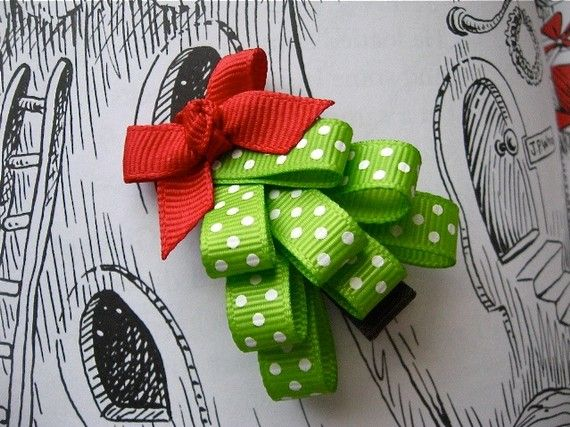 Christmas tree clip with red ribbon bow by PolkaTods on Etsy