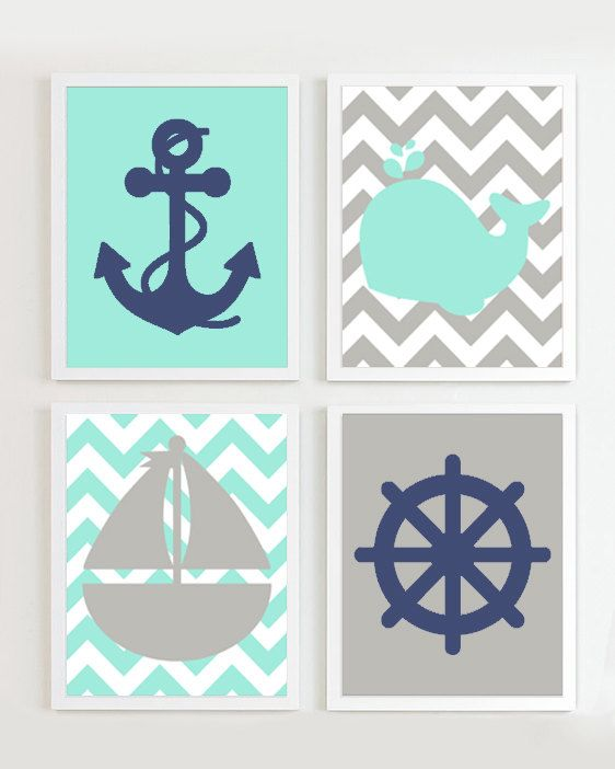 INSTANT DOWNLOAD - Chevron Nautical Nursery Teal Grey Navy set of 4 each Beach Ocean Sea more colors available