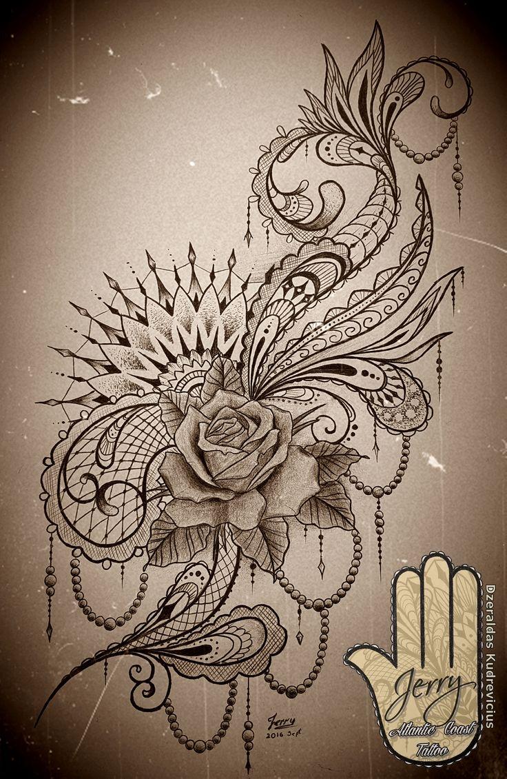 Feminine rose mandala tattoo idea design, with lace and mendi patterns. Thigh or side tattoo. By Dzeraldas Kudrevicius, Atlantic coast tattoo, Newquay cornwall