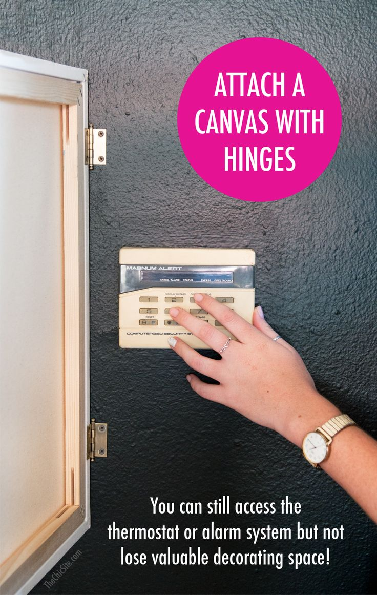 How to Hang Canvas on Hinges to Cover Alarm Systems or Heating/Air Conditioning Units