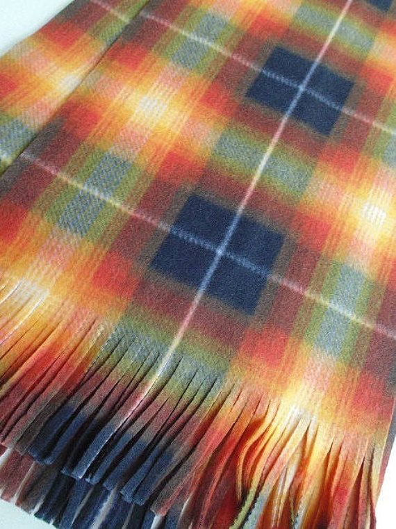 Tartan Scarf Plaid Scarf Oversize Scarf Extra Long Black