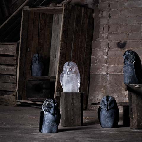Moouthblown crystal owls in the basement at Målerås Glassworks. Design Mats Jonasson