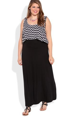 Plus Size Maxi Dress with Chevron Print Bodice $12 #PLUSSIZE BLOWOUT AT DEB SHOPS