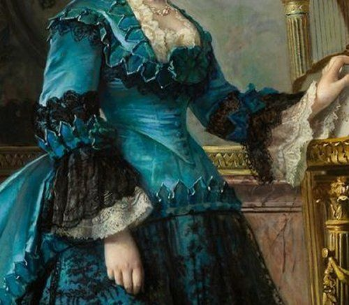 Detail -- teal blue dress with black lace, c. 1870s