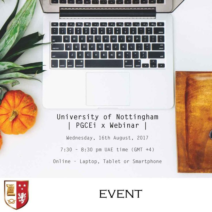 | University of Nottingham PGCEi Middle East Webinar |  Register now and be part of our PGCEi webinar and learn the value of the University of Nottingham PGCEi in the Middle East as explained by Dr. Rupert Knight, PGCEi Course Leader - University of Nottingham.   Date: 16 August 2017  Time : 7:30 – 8:30 pm  (UAE - GMT+4)  Venue : Online - Laptop, Tablet or Smartphone  •University lead workshops in the UAE  •Assignment based assessment  •12 month programme  •Flexible monthly instalments