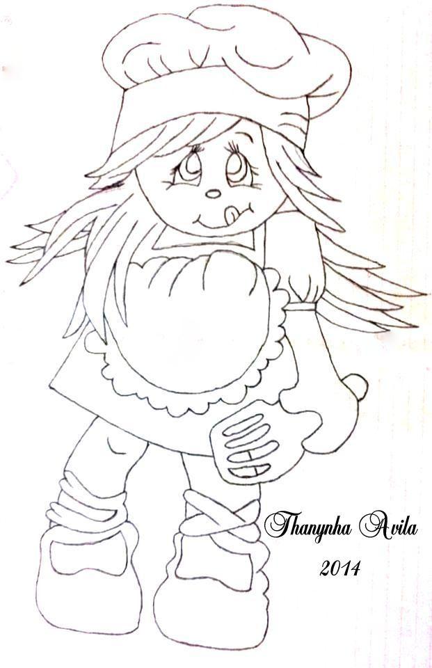 24/02/2014 Menina cozinheira – Thanynha Ávila - Pintura em tecido - Gráfico