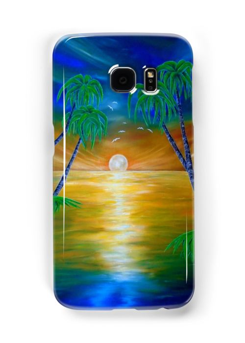 Galaxy Case,  colorful,blue,cool,beautiful,fancy,unique,trendy,artistic,awesome,fahionable,unusual,accessories,for sale,design,items,products,gifts,presents,ideas,tropical,palmtrees,sunset,sea,redbubble