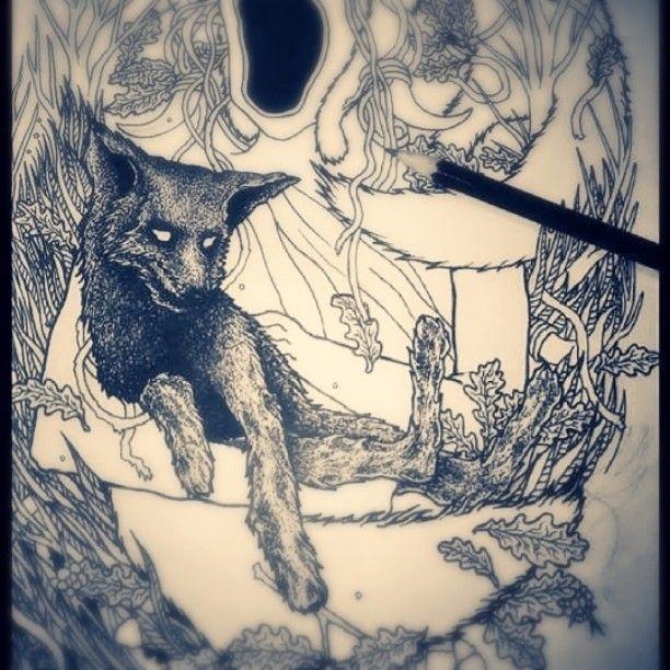 #penandink #pencil #blackink #drawing #blackandwhite #shapefromhell #darkart #fox #spiritual
