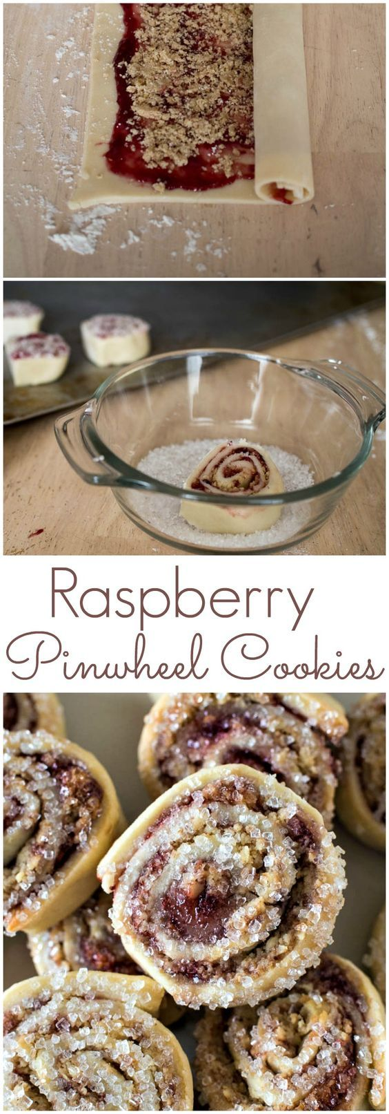 Raspberry Pinwheel Cookies - an easy holiday cookie made by rolling up dough filled with raspberry jam and dipping the cookies in sugar
