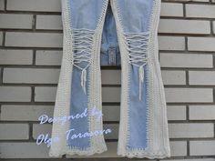 Unusual blue vintage jeans