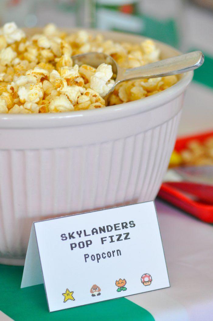 Skylanders Pop Fizz Popcorn from a Nintendo Inspired Video Game Birthday Party via Kara's Party Ideas KarasPartyIdeas.com (31)