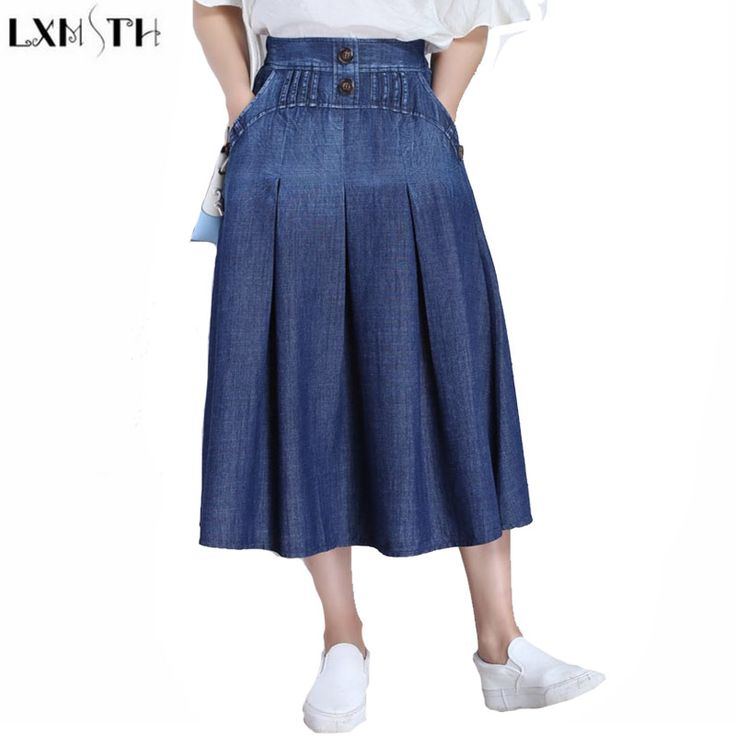 ==> [Free Shipping] Buy Best High Waist Skirts 2017 Summer New Arrival Casual Denim Skirt jeans Women Elastic Waist Thin Maxi Long Pleated Skirts With Pocket Online with LOWEST Price | 32808565710