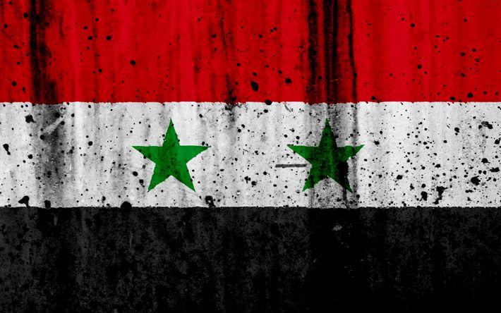Download wallpapers Syrian flag, 4k, grunge, flag of Syria, Asia, Syria, national symbols, Syria national flag