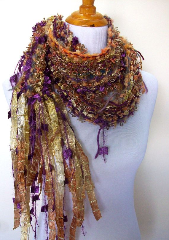 Glitz Hand Knit Scarf Hand Tied Imported Yarns and Fibers Fringy Knotted Accents Gold and Purple Hues Lightweight Style