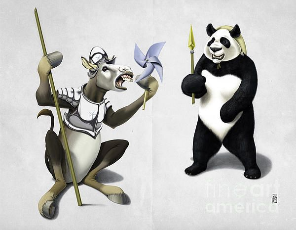 Donkey Xote and Sancho Panda art | decor | wall art | inspiration | animals | home decor | idea | humor | gifts