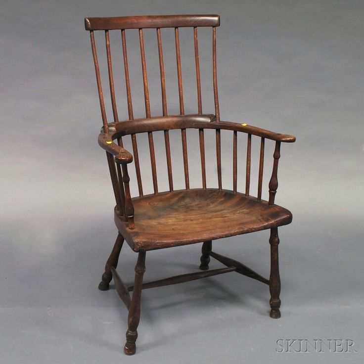 English Elmwood and Yewwood Windsor Armchair   Sale Number 2646M, Lot Number 706   Skinner Auctioneers