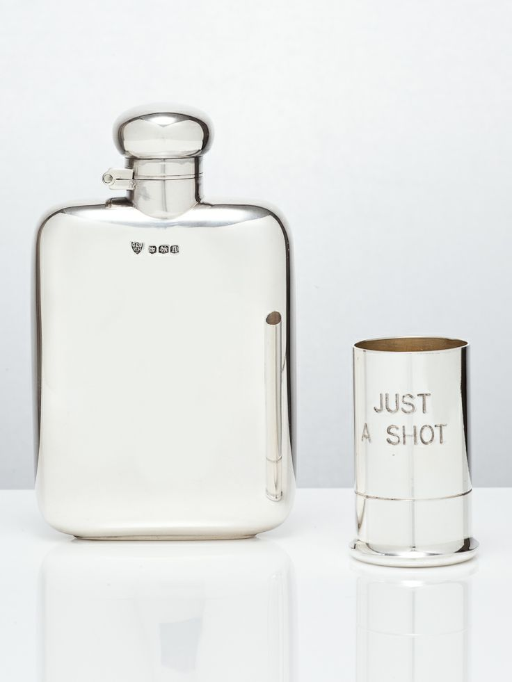 Classic silver hip flask & novelty silver shot @silvervaultslondon.com