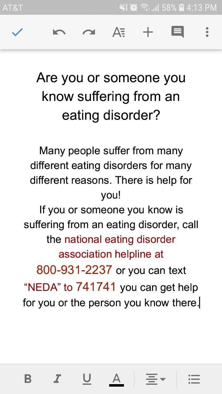 do you or someone you know suffer from an eating disorder? here is a